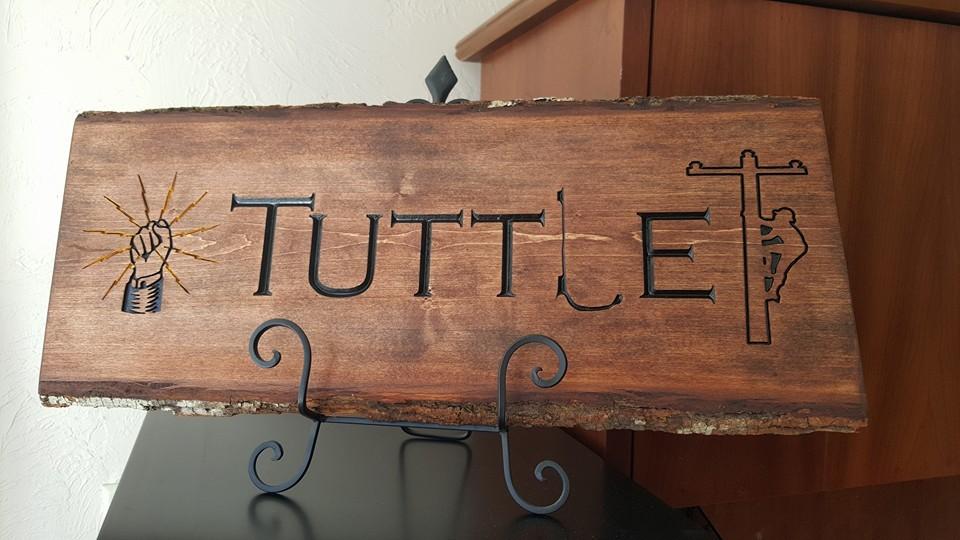 custom lineman carved engraved wood sign