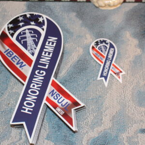 Fallen Linemen Awareness Ribbon hard hat stickers