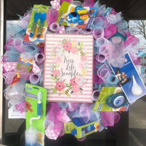 Pink and Blue Pastel Baby Shower Wreath