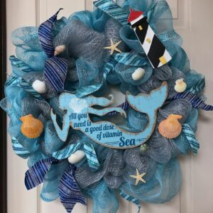Blue Mermaid Seascape Wreath
