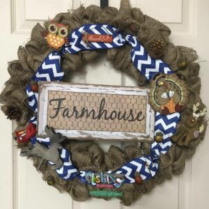 Rustic Burlap & Blue Chevron Farmhouse Wreath