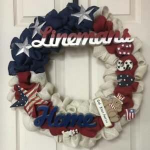 Red, White and Blue Burlap Flag Wreath