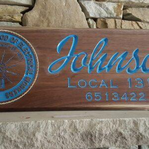 Custom IBEW Carved-Engraved Wood Sign