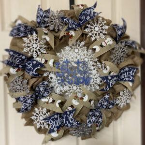 Burlap Snowflakes Wreath