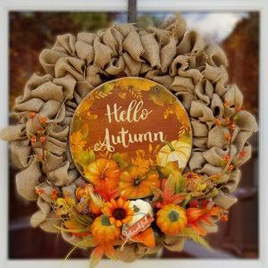 Country Burlap Autumn Wreath