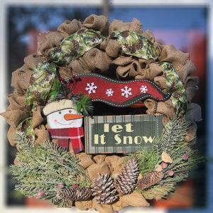 Burlap Let It Snow Wreath