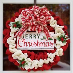 Traditional Merry Christmas Wreath