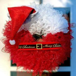 Santa Hat Christmas Wreath