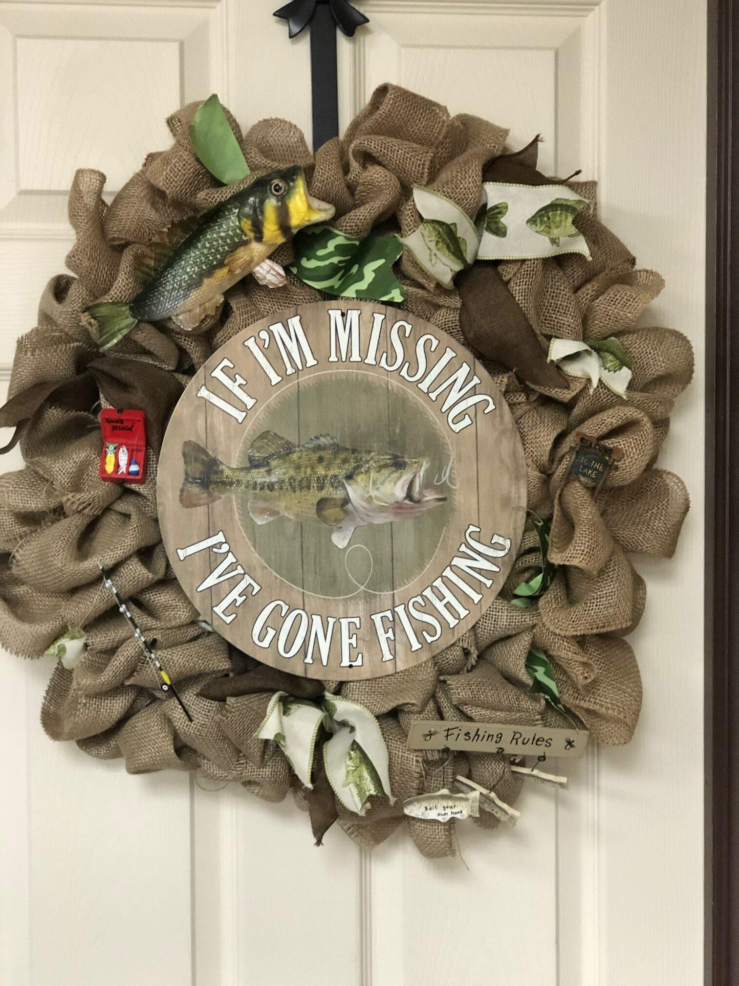 If I'm Missing, I'm Fishing Wreath