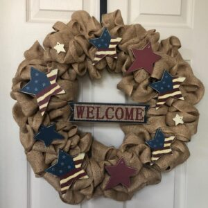 Welcome Burlap Patriotic Star Wreath